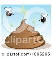 Clipart Flies Over A Smelly Pile Of Poop Royalty Free Vector Illustration