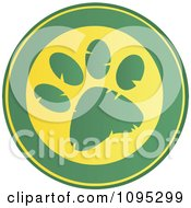 Clipart Green And Yellow Paw Print Circle Royalty Free Vector Illustration