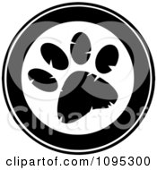 Clipart Black And White Paw Print Circle Royalty Free Vector Illustration