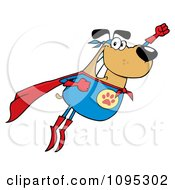 Clipart Flying Super Dog Flashing A Smile Royalty Free Vector Illustration by Hit Toon