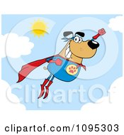 Clipart Flying Super Dog Flashing A Smile In The Sky Royalty Free Vector Illustration by Hit Toon