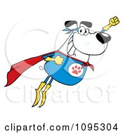 Clipart Flying White Super Dog Flashing A Smile Royalty Free Vector Illustration