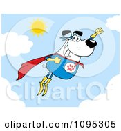 Clipart Flying White Super Dog Flashing A Smile In The Sky Royalty Free Vector Illustration