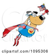 Clipart Flying Super Dog Flashing A Smile And Holding An American Flag Royalty Free Vector Illustration