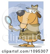 Clipart Smiling Detective Doggy Holding A Magnifying Glass Royalty Free Vector Illustration by Hit Toon