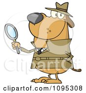 Clipart Smiling Detective Dog Holding A Magnifying Glass Royalty Free Vector Illustration