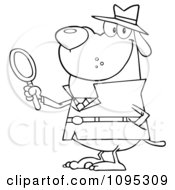 Clipart Outlined Smiling Detective Dog Holding A Magnifying Glass Royalty Free Vector Illustration by Hit Toon