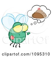 Clipart Fly Daydreaming About Poop With A Cherry On Top Royalty Free Vector Illustration