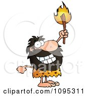Caveman Holding Up A Lit Torch