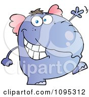 Clipart Friendly Purple Elephant Walking Upright And Waving Royalty Free Vector Illustration