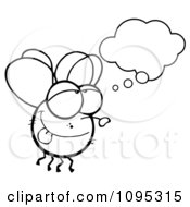 Clipart Outlined Fly Daydreaming Royalty Free Vector Illustration