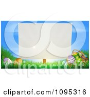 Clipart Blank Sign Posted In Grass By Easter Eggs Royalty Free Vector Illustration