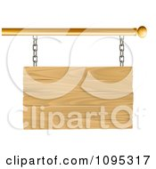 Clipart 3d Blank Wooden Sign Suspended From A Gold Rod Royalty Free Vector Illustration