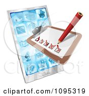 Clipart 3d Survey Or Checklist Over A Cell Phone Royalty Free Vector Illustration by AtStockIllustration