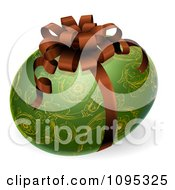 Clipart 3d Ornate Green And Gold Patterned Easter Egg With A Bow Royalty Free Vector Illustration