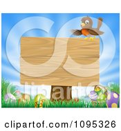Clipart Robin Perched On A Blank Wood Sign Over Easter Eggs In Grass Over A Sunny Sky Royalty Free Vector Illustration