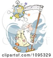 Clipart Father Time Destroying Planet Earth With A Scythe Royalty Free Vector Illustration by Johnny Sajem