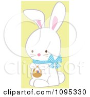 Cute White Easter Bunny With A Blue Bow And Basket Of Eggs