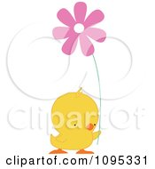 Clipart Yellow Easter Chick Holding A Pink Daisy Flower Royalty Free Vector Illustration