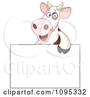 Clipart Cute Cow Smiling Over A Blank Sign Royalty Free Vector Illustration