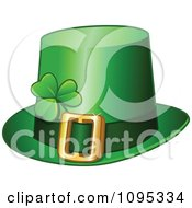 Clipart Green St Patricks Day Leprechaun Buckle Hat With A Shamrock Royalty Free Vector Illustration