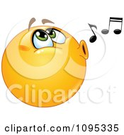 Clipart Smiley Face Emoticon Whistling A Tune Royalty Free Vector Illustration