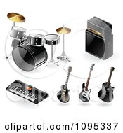 Clipart 3d Black Drums Amp Keyboard And Guitar Music Instrument Icons Royalty Free Vector Illustration by TA Images #COLLC1095337-0125