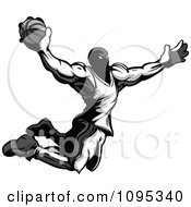 Clipart Strong Grayscale Basketball Player Catching Air To Dunk A Basketball Royalty Free Vector Illustration