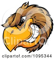 Clipart Grinning Brown Bird Mascot Head Royalty Free Vector Illustration