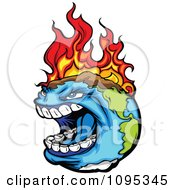 Clipart Angry Earth Screaming While Burning From Global Warming Fires Royalty Free Vector Illustration