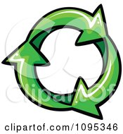Three Green Recycle Arrows In An Infinite Circle