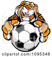 Clipart Friendly Tiger Mascot Holding Out A Soccer Ball Royalty Free Vector Illustration