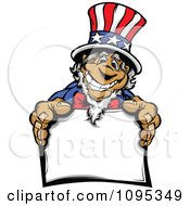 Clipart Jolly Uncle Sam Smiling And Holding Out A Sign Royalty Free Vector Illustration