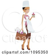Beautiful Chef Woman Carrying A Cupcake And Bag Of Kitchen Utensils