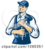Clipart Retro Male Carpenter Holding A Chisel And Hammer Royalty Free Vector Illustration