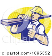 Clipart Retro Male Carpenter Holding A Thumb Up And Carrying Lumber Over Yellow Rays Royalty Free Vector Illustration