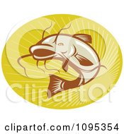 Clipart Retro Catfish Jumping Over Rays Royalty Free Vector Illustration by patrimonio