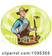 Retro Male Farmer Standing With A Hoe And Bucket Of Harvest Veggies Over Green Rays