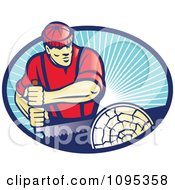 Clipart Retro Lumberjack Man Sawing A Log Over Blue Rays Royalty Free Vector Illustration by patrimonio
