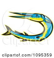 Clipart Retro Styled Blue And Yellow Needle Fish Jumping Royalty Free Vector Illustration