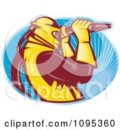 Clipart Retro Sandblaster Worker Over Blue Rays Royalty Free Vector Illustration