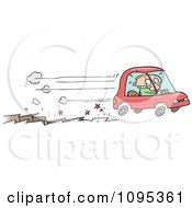 Clipart Toon Guy Speeding Away In A Car In Front Of A Fissure Crack Royalty Free Vector Illustration
