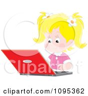 Blond School Girl Studying On A Laptop Computer