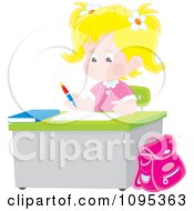 Clipart Blond School Girl Studying At A Desk Royalty Free Vector Illustration by Alex Bannykh
