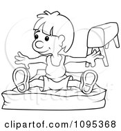 Clipart Outlined Gymnast Boy On A Pad Royalty Free Vector Illustration