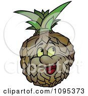 Clipart Happy Pineapple Looking Upwards Royalty Free Vector Illustration