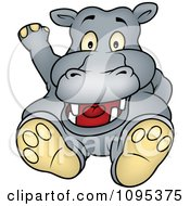 Clipart Happy Hippo Sitting And Waving Royalty Free Vector Illustration by dero