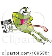 Clipart Cartoon Leap Day Frog Jumping With A February 29th Calendar Royalty Free Vector Illustration by toonaday