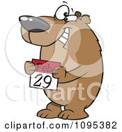 Clipart Cartoon Leap Day Bear Holding A February 29th Calendar Royalty Free Vector Illustration by toonaday