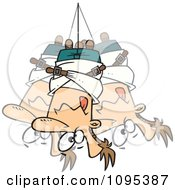 Clipart Cartoon Man Hanging Upside Down In A Straitjacket Royalty Free Vector Illustration